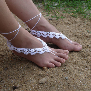 Foot jewelry Rhinestone Beach wedding White Crochet Barefoot Sandals Crystal Nude shoes, Beach wedding anklet, Footless sandales