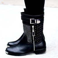 Short Rhinestone Boot with Buckle Side