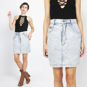 80s Acid Wash Denim Skirt Denim Mini Skirt Blue Jean Skirt Vintage Acid Wash Jean Skirt High Waist Skirt Hipster Novelty Shoes Pocket (XS)