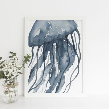 Blue Watercolor Jellyfish Modern Art Print or Canvas