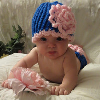Flower Hat and Diaper Cover- Newborn to 12 Months, Flower Girl, Photo Prop., Blue Hat, New Baby, Baby Shower, Gift