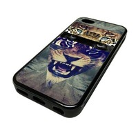 Apple iPhone 5C 5 C Case Cover Fierce Tiger Stares Eyes Hipster DESIGN BLACK RUBBER SILICONE Teen Gift Vintage Hipster Fashion Design Art Print Cell Phone Accessories