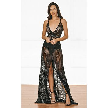 Indie XO Cause A Scandal Black Sequin Sheer Glitter Geometric Sleeveless Spaghetti Strap Deep V Neck Double Split Maxi Dress