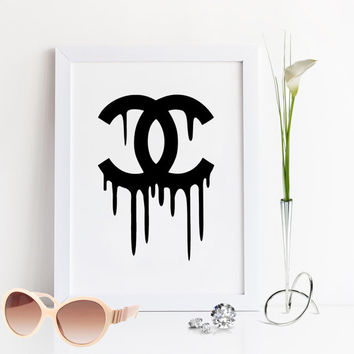 COCO CHANEL DRIPPING,Chanel Print,Fashion print,Fashion Quote,Coco Chanel Poster,Fashionista,Chanel Logo,Chanel Logotype,Wall Art,Glam Room