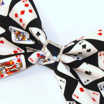 Black with Playing Cards Poker with Rhinestones Hair Bow Vintage Inspired Hair Clip Rockabilly Pin up Teen Woman