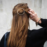 Celebrity Trending Gold Circle Hair Clip Hair Pin Wedding Barrette