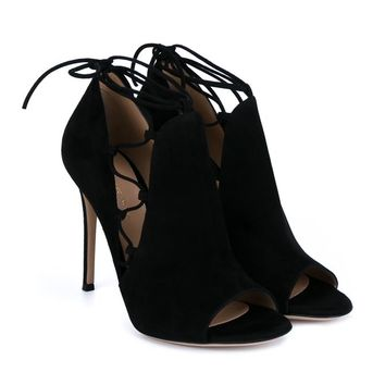 Jennie Lace-Up Side Sandals - GIANVITO ROSSI