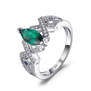 JewelryPalace Marquise 2.5ct Nano Russian Simulated Emerald Statement Ring 925 Sterling Silver