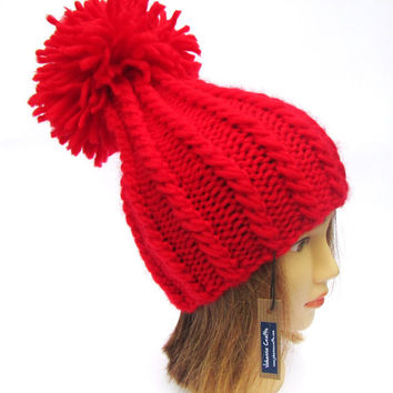 Bright red tall hat for women - knit wool hat - warm winter hat - cherry red knit hat with pompom - chunky knit hat - st valentines day gift