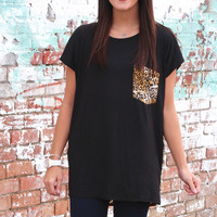 Leopard Party Pocket + Back Top {Black}