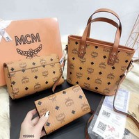 MCM 2018 new women's fashion bucket bag wild shoulder bag diagonal female bag three-piece brown