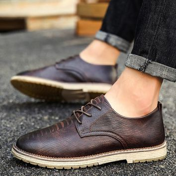 Vintage Genuine Leather Oxford British Style Shoes