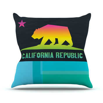 "Fimbis ""California"" Multicolor Teal Throw Pillow"