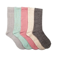 Womens Pointelle Knit Crew Socks 5 Pack
