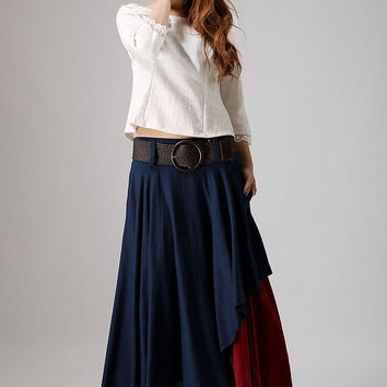 Blue skirt woman  linen skirt custom made layered skirt long skirt (869)