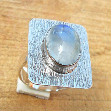 Rainbow Moonstone Ring - Designer Silver Ring, Oval Shape Ring, Gemstone Ring, Sterling Silver Ring, Bezel Ring,Top Selling Ring