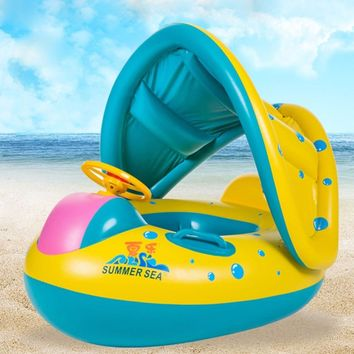 Baby Swimming Ring Safety Inflatable Circle Swim Float Adjustable Sunshade Seat Boat summer Kids Water Sport Fun Pool Toys