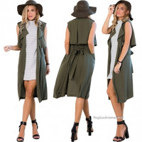 Stylish Ladies Women Casual Green Cardigan Long Vest Jacket Outwear = 1838543620