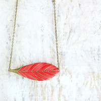 red Leaf necklace feather boho jewelry