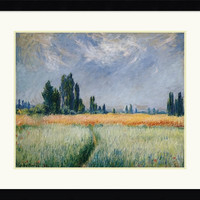 "0-021062>35x29"" Claude Monet Wheatfield 1881 Framed Print"