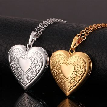 Heart Floating Photo Memory Locket Necklace Women Gold Color Fashion Men Jewelry Vintage Necklaces & Pendants P197