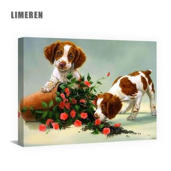Puppy Dog Animals Red Rose DIY Acrylic Oil Canvas Painting By Numbers Home Decor Wall Art Pictures