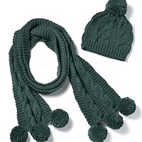 Cable Knit Scarf and Hat Set | Simply Be