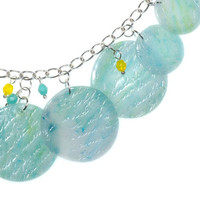 Turquoise Lemon Sherbet Polymer Clay Charm Necklace and Earrings Set