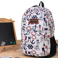 Full Anchor and Helm Print Backpack
