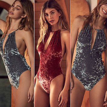 Sexy Women velvet Halter One-Piece Suits Push Up Padded Bra Bandage Bikini Set Swimsuit Triangle Swimwear Bathing