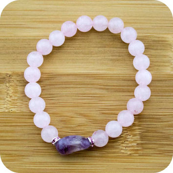 Rose Quartz Yoga Jewelry Bracelet with Amethyst