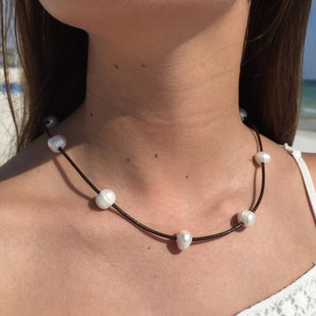 Floating Pearl Leather Necklace | White Freshwater Pearl Choker | Boho Necklace | Gift Under 40
