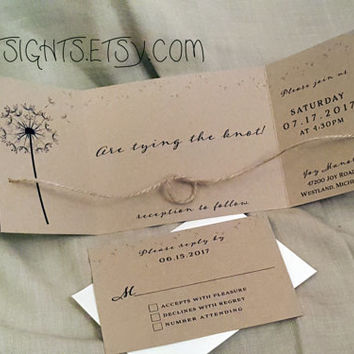 Tying The Knot Invitation Set 25 Cards Rustic