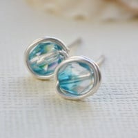 Earrings stud blue beaded aura borealis finish by collscreations