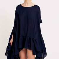 Peter Jenson Frill Hem Smock Dress in Navy - Urban Outfitters