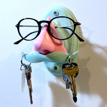 Wall Hanging Nose Eyeglass Holder, Sculpture, Key Hook Moustache, unusual, pink and  green