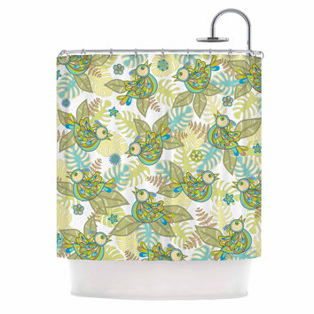 "Julia Grifol ""Summer Birds"" Green Lime Shower Curtain"