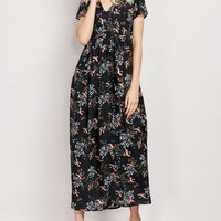 Tiny Floral V Neck Maxi Dress