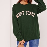 Missguided - West Coast Slogan Sweatshirt Green