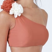 Currulao Reversible One Shoulder Bikini Top - Coral/Ivory