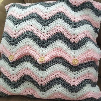 Crochet Chevron Pillow Cover