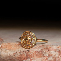 mandala ring - tribal design - pattern gold ring - gypsey - flower ring - gold ring