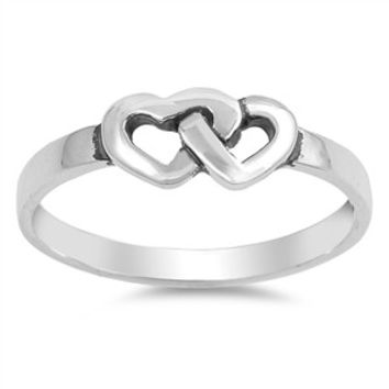 Sterling Silver Unique Design Interlocking Double Heart Ring Sz 3-9