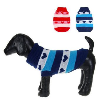 Dog Cat Heart Stripes Warm Sweater Knit Coat Outwear Apparel Pet Dog Clothes