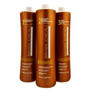 CADIVEU BRASIL CACAU BRAZILIAN KERATIN 3 STEPS TREATMENT FRACTION KIT 3 X 500ml (17.5oz).