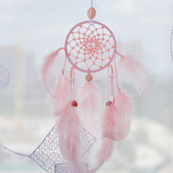 Pink Car Dream Catcher Dreamcatchers Mini dreamcatcher White accessories Decor Small dream catchers Gift  Bohemian Boho