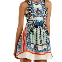 Ivory Combo Racer Front Mirror Print Skater Dress by Charlotte Russe
