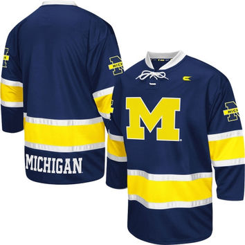 Michigan Wolverines Face Off Hockey Jersey – Navy Blue