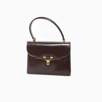 Vintage 60s GUCCI Handbag / 1960s Authentic Dark Brown Leather Kelly Bag Purse