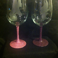 Aurora and Maleficent set inspired by Disney Sleeping Beauty glittered wine glasses
